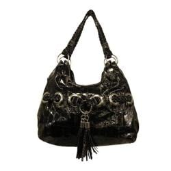 Women's Blingalicious Croco Print Fashion Handbag Q935 Black