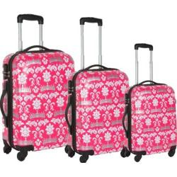 Women's Blingalicious Crown Printed Luggage CWP1070 Pink