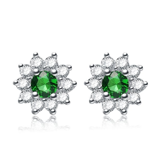 Collette Z Sterling Silver Green Cubic Zirconia Flower Stud Earrings