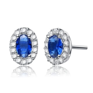 Collette Z Sterling Silver White and Blue Cubic Zirconia Earrings