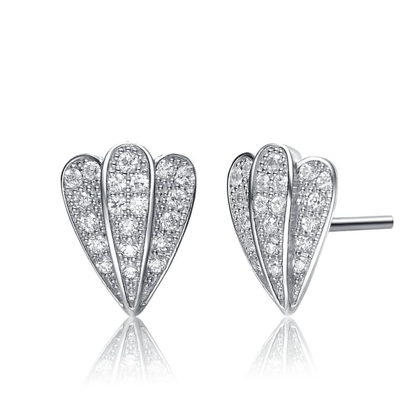 Collette Z Sterling Silver Cubic Zirconia 3-row Stud Earrings