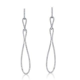 Collette Z Sterling Silver Cubic Zirconia Long Dangling Earrings