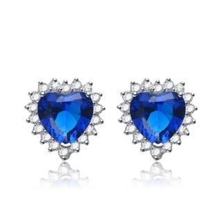 Collette Z Sterling Silver Blue Cubic Zirconia Heart-shape Earrings