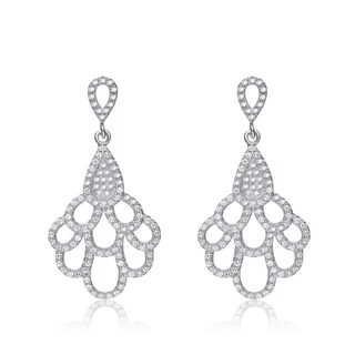 Collette Z Sterling Silver Cubic Zirconia Fancy Dangling Earrings