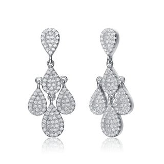Collette Z Sterling Silver Cubic Zirconia Fancy Chandelier Earrings