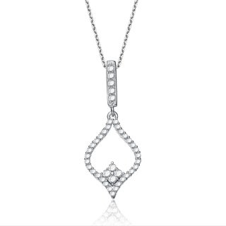 Collette Z Sterling Silver Cubic Zirconia Fancy Dangling Necklace