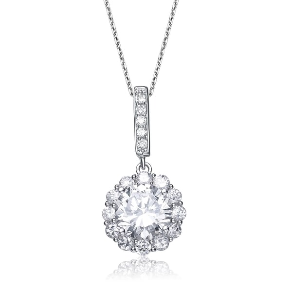 Collette Z Sterling Silver Cubic Zirconia Flower Drop Necklace