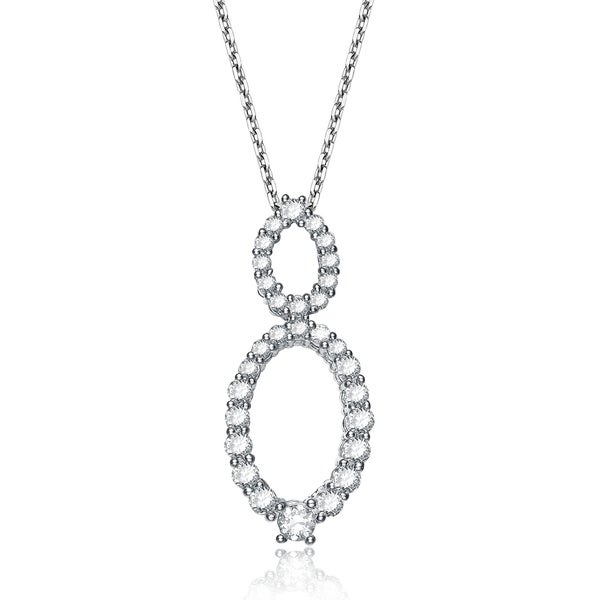 Collette Z Sterling Silver Cubic Zirconia Oval Drop Necklace