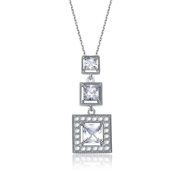 Collette Z Silver Cubic Zirconia Square Graduated Style Necklace