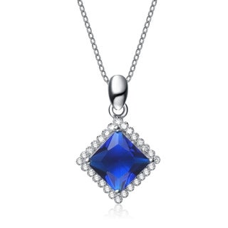 Collette Z Sterling Silver Blue Cubic Zirconia Square-shape Necklace
