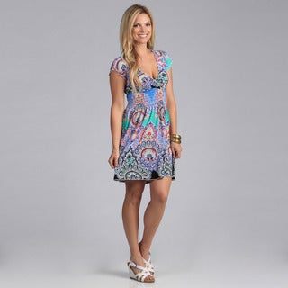 Just Funky Women's Paisley V-neck Dress