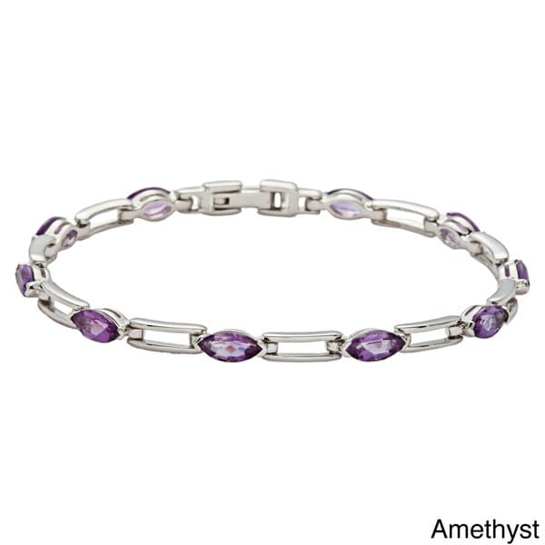 Oravo Sterling Silver Marquise-cut Gemstone Bracelet