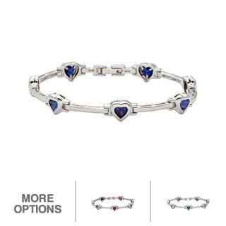 Oravo Sterling Silver Heart-cut Gemstone Bracelet