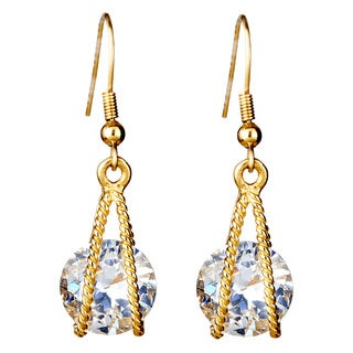 Goldplated Stainless Steel Cubic Zirconia Suspended Earrings