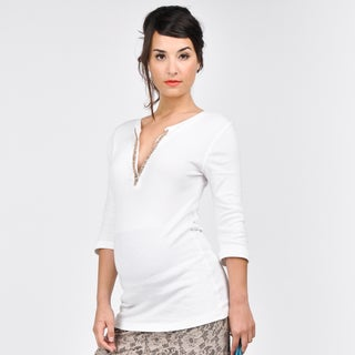 Juliet Dream White Embellished Maternity Henley
