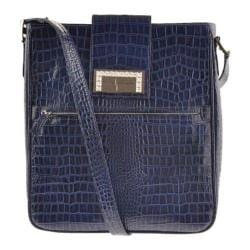 Women's Luis Steven White Crystal Laptop Bag S0630 Blue Leather