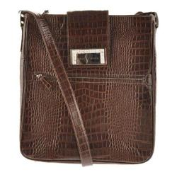 Women's Luis Steven White Crystal Laptop Bag S0630 Brown Leather