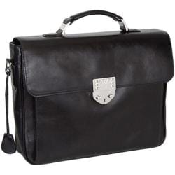 Women's Luis Steven White Crystal Lock Briefcase B3900 Black Leather