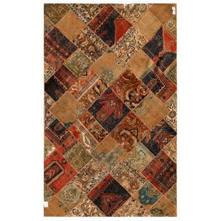 """Pak Persian Hand-Knotted Patchwork Multicolored Geometric Pattern Wool Rug (6'2"""" x 9'11"""")"""