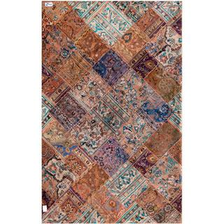 """Pak Persian Hand-Knotted Patchwork Multicolored Wool Area Rug (6'3"""" x 9'10"""")"""