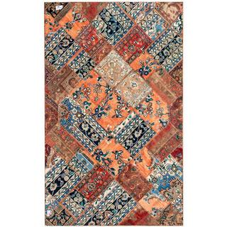 "Persian Hand-Knotted Patchwork Multicolored Geometric Wool Rug from Pakistan (6'2"" x 9'10)"