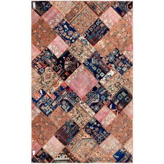 Pak Persian Hand-knotted Patchwork Multi-colored Wool Rug (6'2 x 9'10)