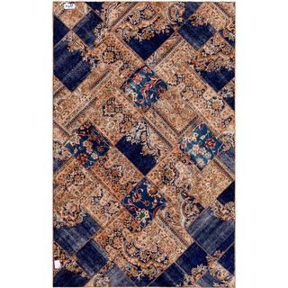 Pak Persian Hand-knotted Patchwork Multi-colored Wool Rug (6'3 x 9'10)