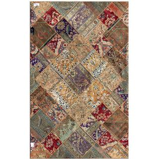 "Pak Persian Hand-Knotted Patchwork Multicolored Geometric-Patterned Wool Rug (6'3"" x 9'10"")"