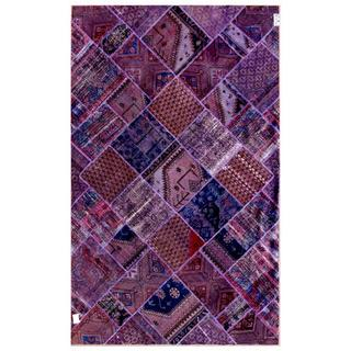 "Pakistan Persian Hand-Knotted Patchwork Multicolored Traditional Wool Area Rug (6'2"" x 9'10)"