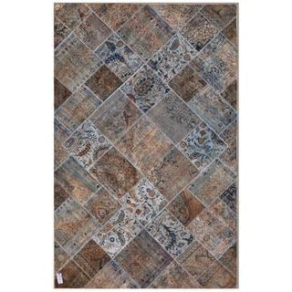 Pak Persian Hand-Knotted Patchwork Multi-Colored Wool Area Rug (6'3 x 9'11)