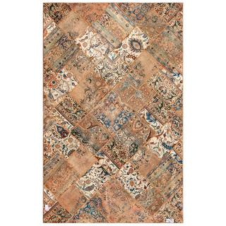 "Traditional Pak Persian Hand-Knotted Patchwork Multicolored Wool Rug (6'3"" x 9'10"")"