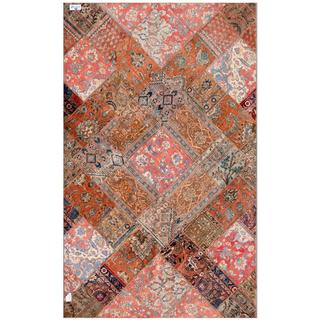 Herat Oriental Pak Persian Hand-knotted Patchwork Multi-colored Wool Rug (6'1 x 9'11)