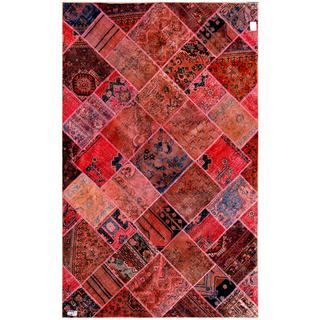 Herat Oriental Pak Persian Hand-knotted Patchwork Multi-colored Wool Rug (6'2 x 9'11)