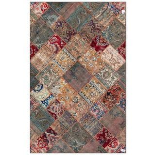 Pak Persian Hand-Knotted Geometric Patchwork Multi-Colored Wool Rug (6'3 x 9'11)