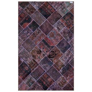 Pak Persian Hand-knotted Patchwork Multi-colored Wool Rug (6'2 x 9'8)
