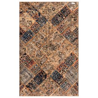 Worldstock Pakistan Persian Hand-Knotted Patchwork Multicolored Wool Area Rug (6'2