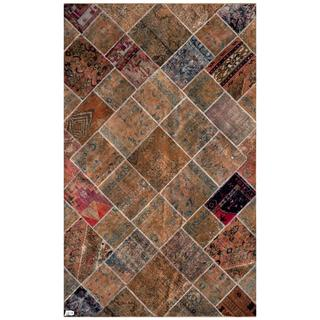 Herat Oriental Pak Persian Hand-knotted Patchwork Multi-colored Indoor Wool Rug (6'2 x 9'11)