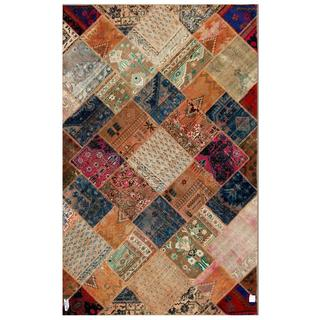 "Gorgeous Pak Persian Hand-Knotted Patchwork Multicolored Wool Rug (6'3"" x 9'10"")"