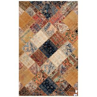 Herat Oriental Pak Persian Hand-knotted Patchwork Multi-colored Wool Rug (6'3 x 9'10)