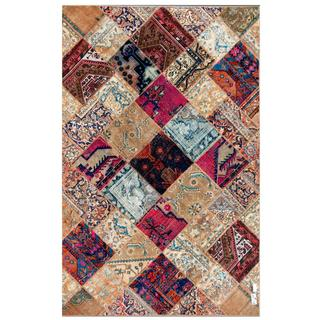 Pak Persian Hand-knotted Patchwork Multi-colored Wool Rug (6'4 x 9'10)