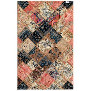 Pak Persian Hand-Knotted Patchwork Multi-Colored Indoor Wool Rug (6'3 x 9'11)
