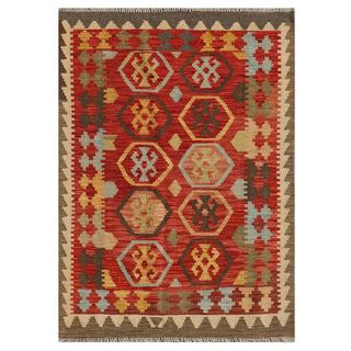 Afghan Hand-knotted Mimana Kilim Red/ Brown Wool Rug (3'2 x 4'4)