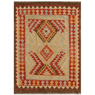 Afghan Hand-knotted Mimana Kilim Light Blue/ Red Wool Rug (3'5 x 4'8)