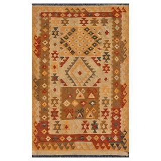 Herat Oriental Afghan Hand-knotted Mimana Kilim Ivory/ Brown Wool Rug (3'4 x 4'11)