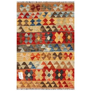 Afghan Hand-knotted Mimana Kilim Red/ Blue Wool Rug (2'2 x 3'2)