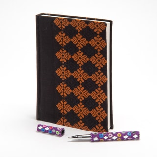 Handwoven Border Recycled Cotton Textile Notebook (India)