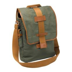 Nuo-tech Eco-Friendly Canvas Vertical Messenger Olive/Burnt Orange