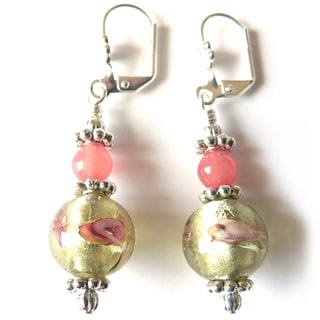 'Rosette' Lampworked Glass Dangle Earrings