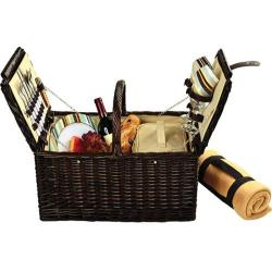 Picnic at Ascot Surrey Picnic Basket for Two with Blanket Brown Wicker/Santa Cruz Stripe