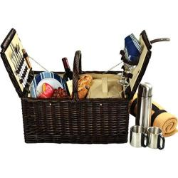 Picnic at Ascot Surrey Picnic Basket for Two with Blanket/Coffee Brown Wicker/Blue Stripe